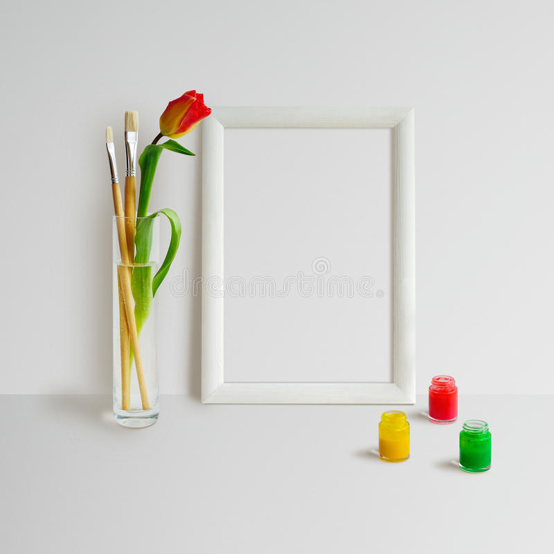 Frame Mock Up with Tulip stock image