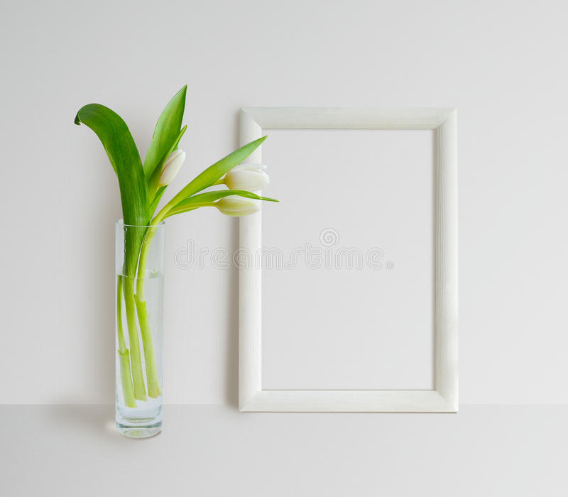 Frame Mock Up with Tulips royalty free stock photo