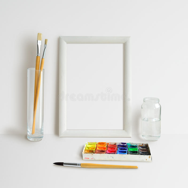 Frame Mock Up with Watercolour stock image