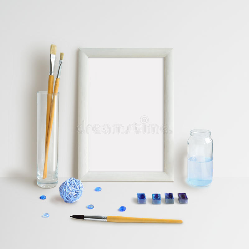 Frame Mock Up with Watercolour royalty free stock photos