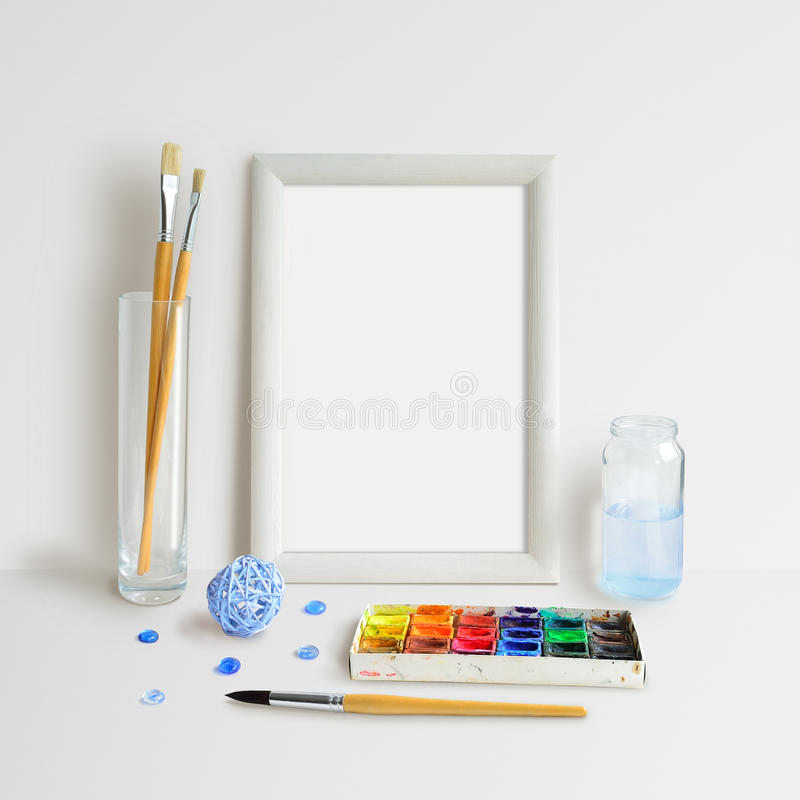 Frame Mock Up with Watercolour stock photography