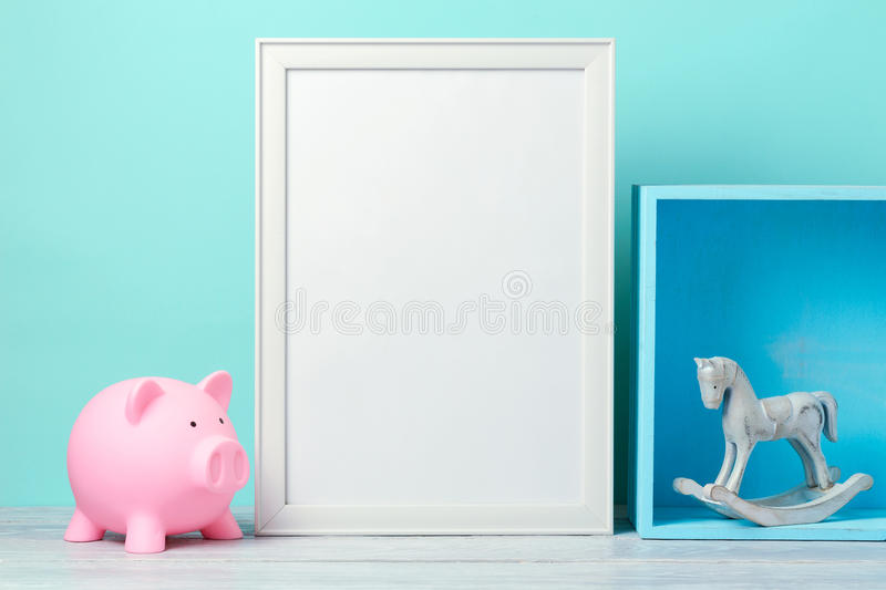 Frame mock up on wooden table stock photo