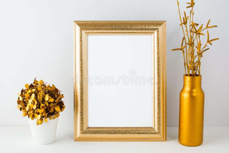 Frame mockup with golden vase royalty free stock image