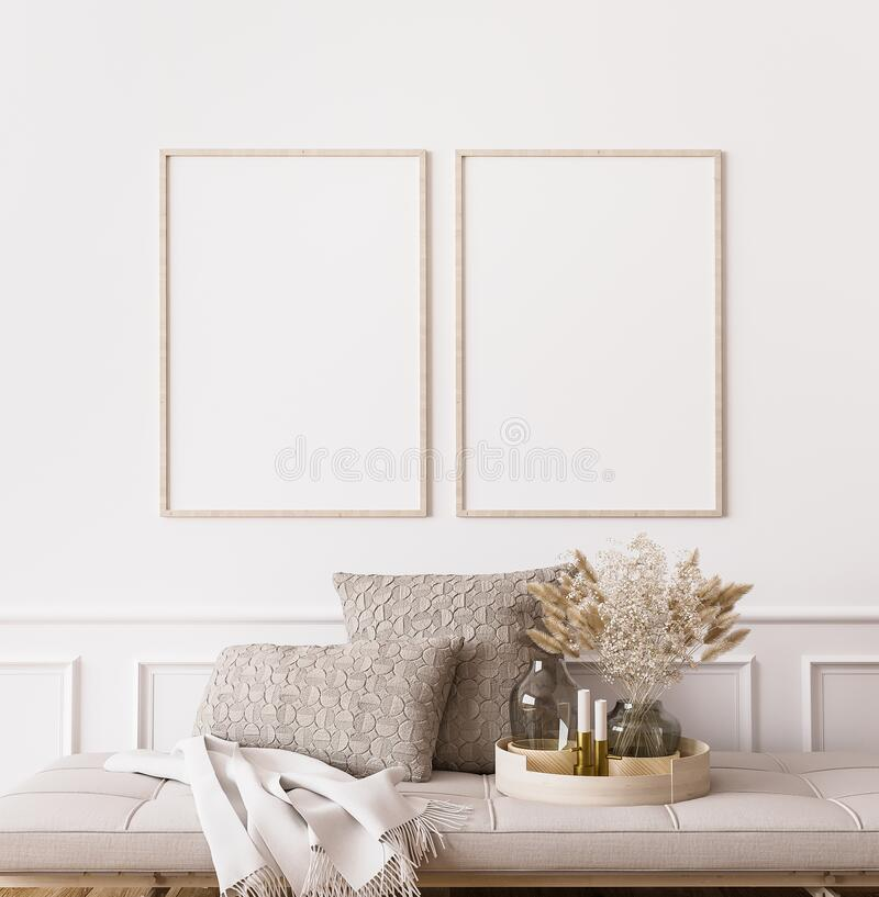 Free Frame Mockup In Contemporary Living Room Design, Two Vertical Frames On White Wall Background Stock Photos - 198525813