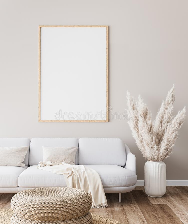 Free Frame Mockup In Farmhouse Living Room Design, White Furniture On Bright Wall Background Royalty Free Stock Image - 198527166