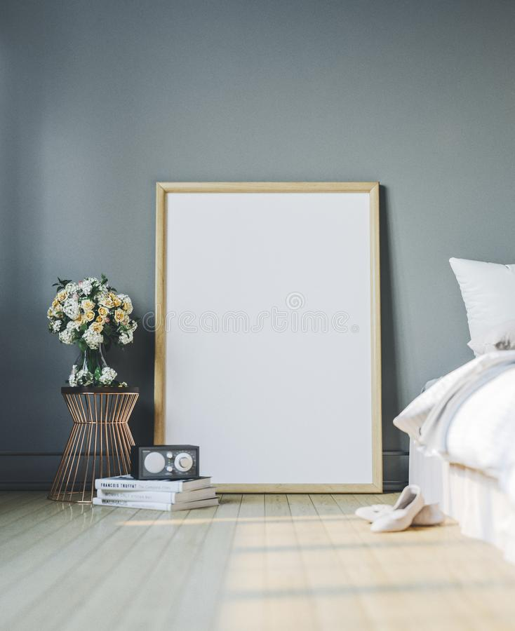 Cozy bedroom with empty poster frame. Frame mockup in interior. stock image