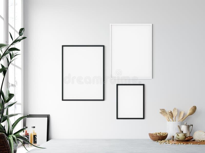 Frame mockup. Kitchen interior wall mockup. Wall art. 3d rendering, 3d illustration. royalty free illustration