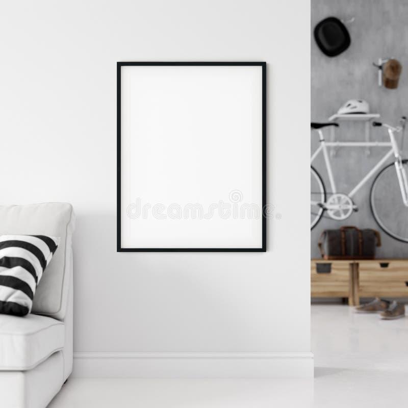 Frame mockup. Living room interior wall mockup. Wall art. 3d rendering, 3d illustration. royalty free stock image