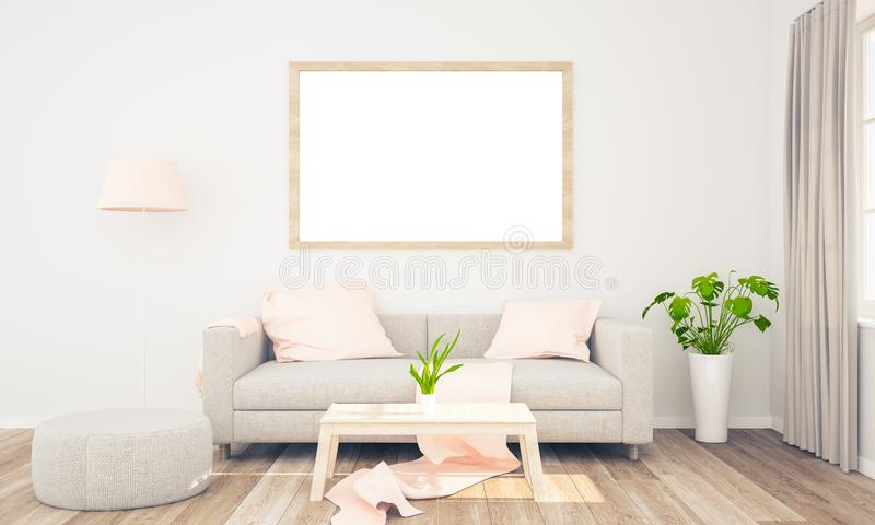 Frame mockup on living room. Frame poster mockup on living room wall 3d rendering stock photos