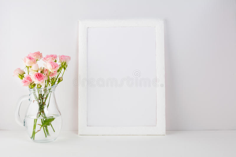 Frame mockup with pink roses stock image