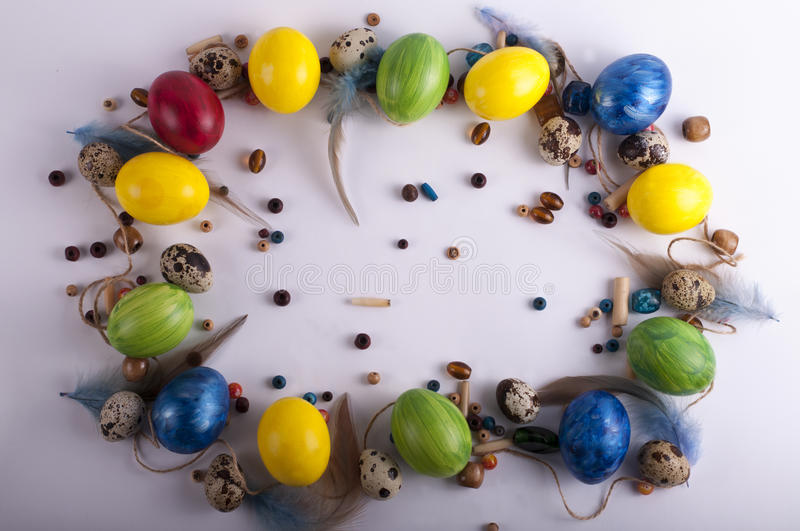 Frame from multi-colored eggs stock photos