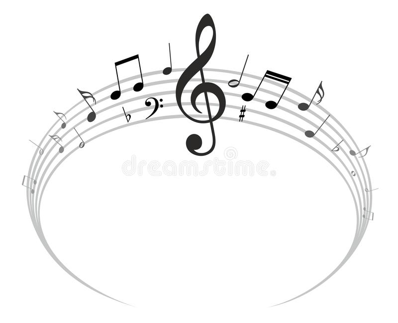 round frame with music notes stock vector