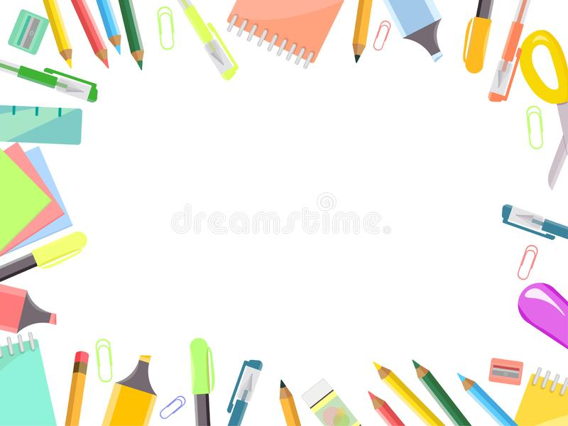 Frame of office items, stationery set vector illustration