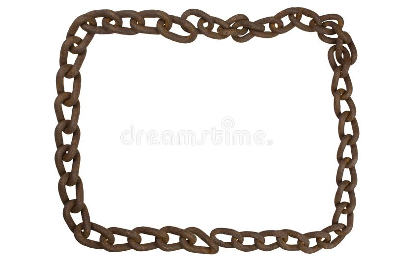 The frame of an old rusty iron chain. stock photo