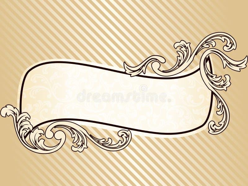 Frame ondulado elegante do sepia do vintage ilustração do vetor