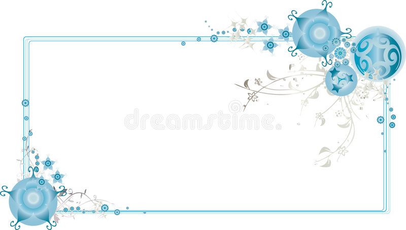 Frame ornamentado azul do Natal ilustração stock