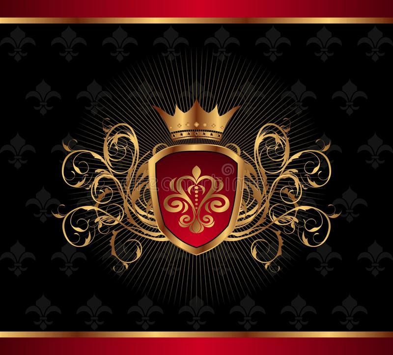 Frame ornamentado dourado com coroa ilustração royalty free