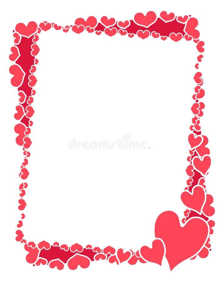 Frame ou beira cor-de-rosa dos corações do Valentim ilustração do vetor
