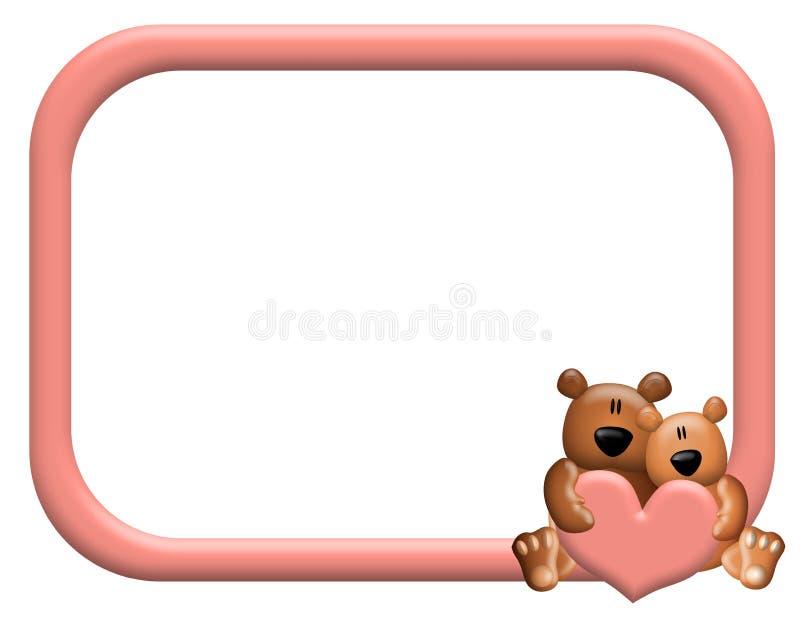 Frame ou beira dos corações do urso da peluche ilustração royalty free