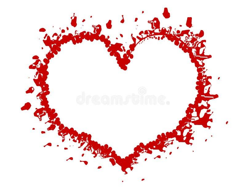 Frame ou beira vermelha do coração de Grunge do Valentim ilustração do vetor