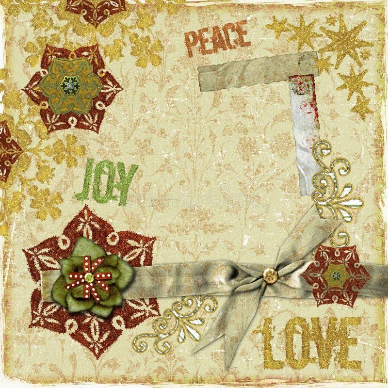 Frame ou cartão do Scrapbook do Natal do vintage fotografia de stock