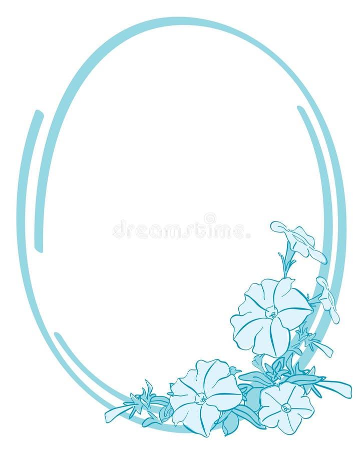 Frame oval azul com flores ilustração royalty free