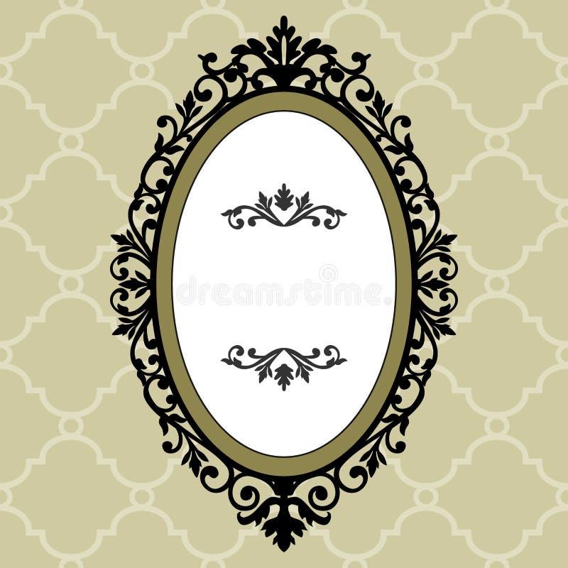 Frame oval decorativo do vintage ilustração do vetor