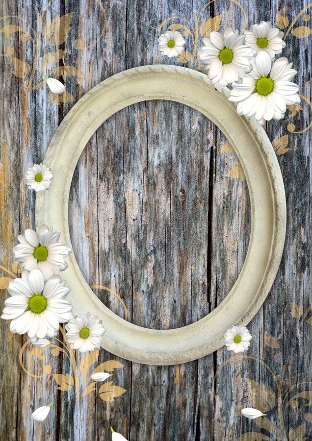 Frame oval do vintage em uma parede de madeira fotografia de stock