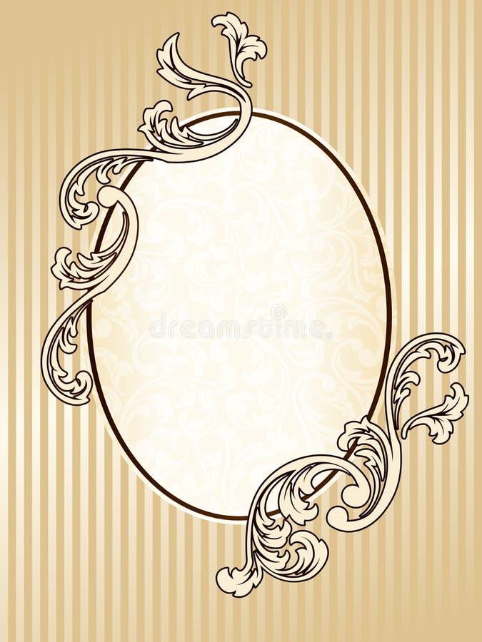 Frame oval elegante do sepia do vintage ilustração royalty free