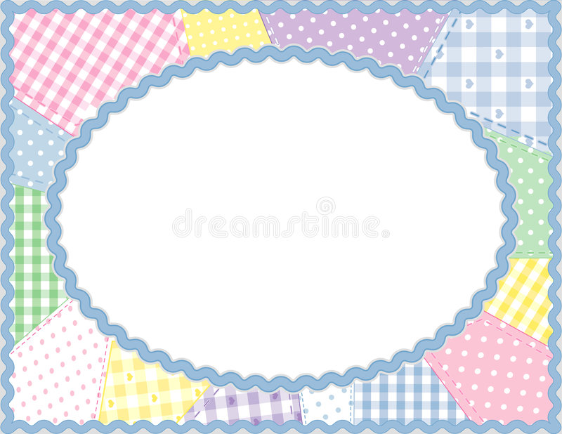 frame oval pastels patchwork stock illustrationer
