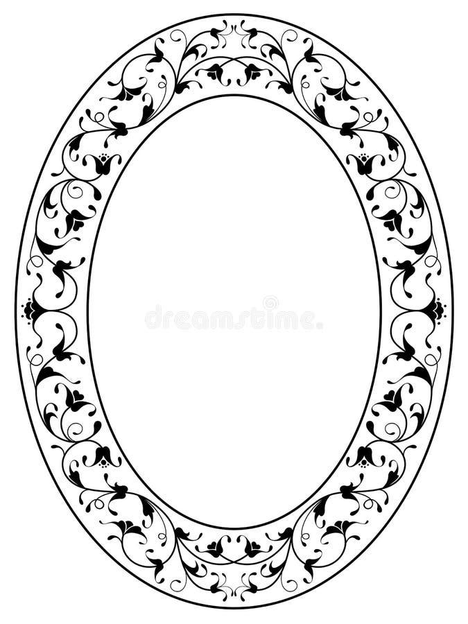 Frame oval preto decorativo floral oriental ilustração do vetor