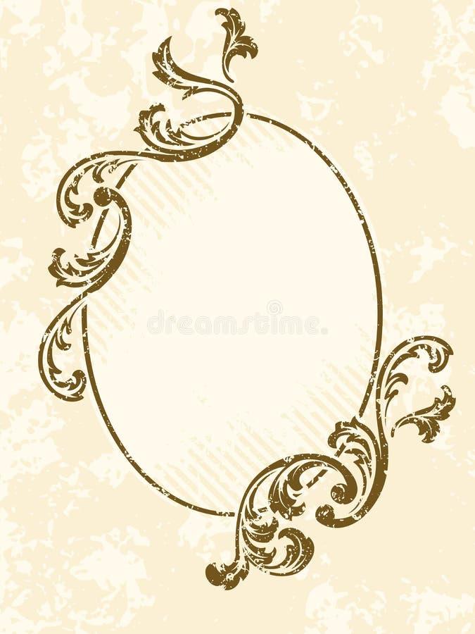 Frame oval sujo do sepia do vintage ilustração stock