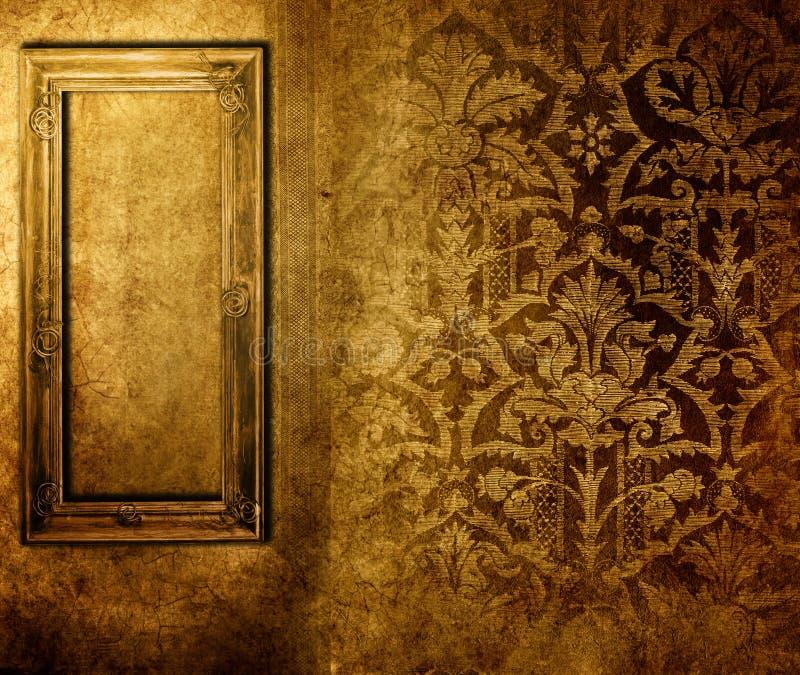Frame over old wallpaper royalty free illustration