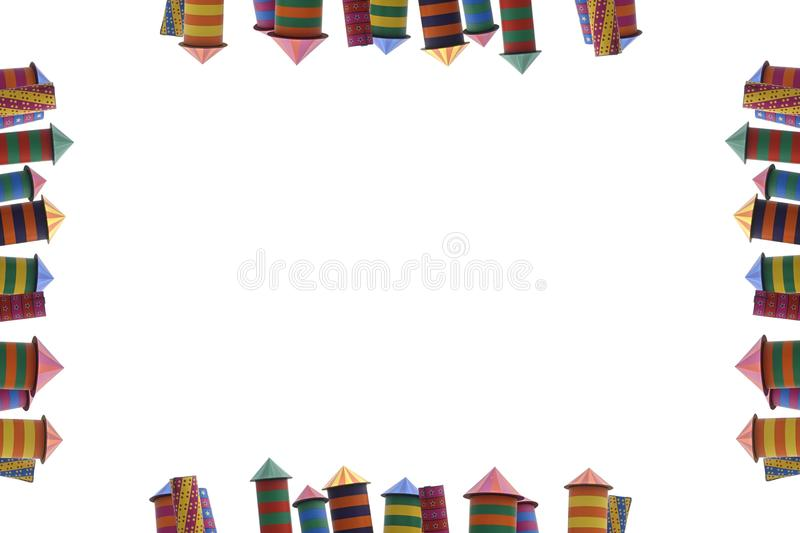 Frame of packed fireworks, different colors of houses fireworks. stock photography