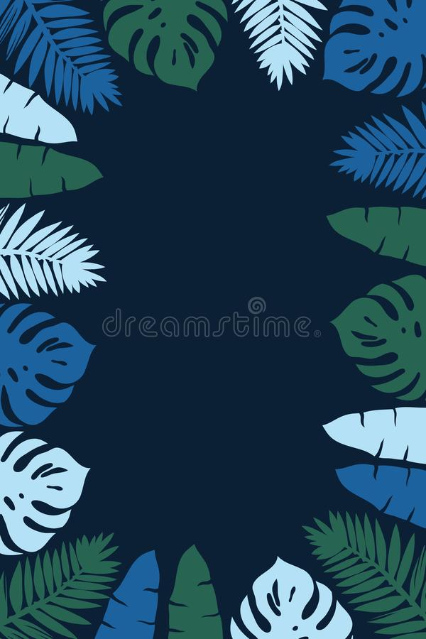 Frame with palm leaves, monstera, banana and stripes painted with ink. stock illustration