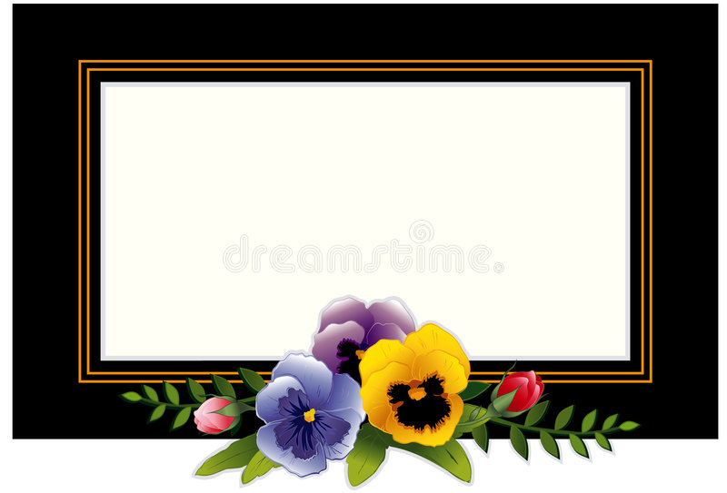 frame pansies rosebuds vintage бесплатная иллюстрация