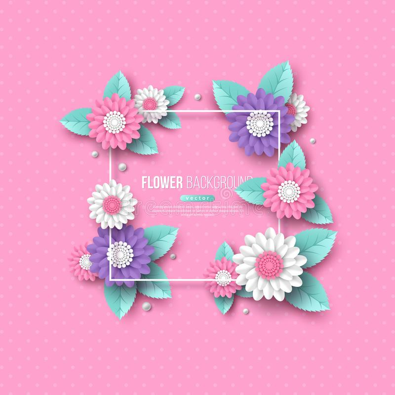 Frame with paper cut 3d flower in pink, white and violet colors. Place for text, dotted pattern. Decorative elements for. Holiday design. Vector illustration stock illustration