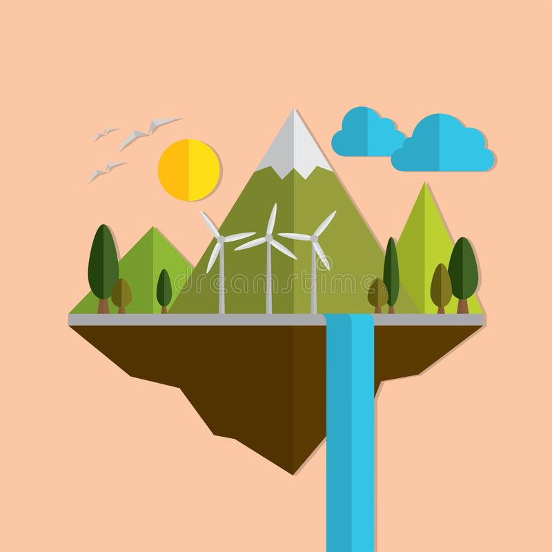Frame of paper nature on the island. royalty free illustration