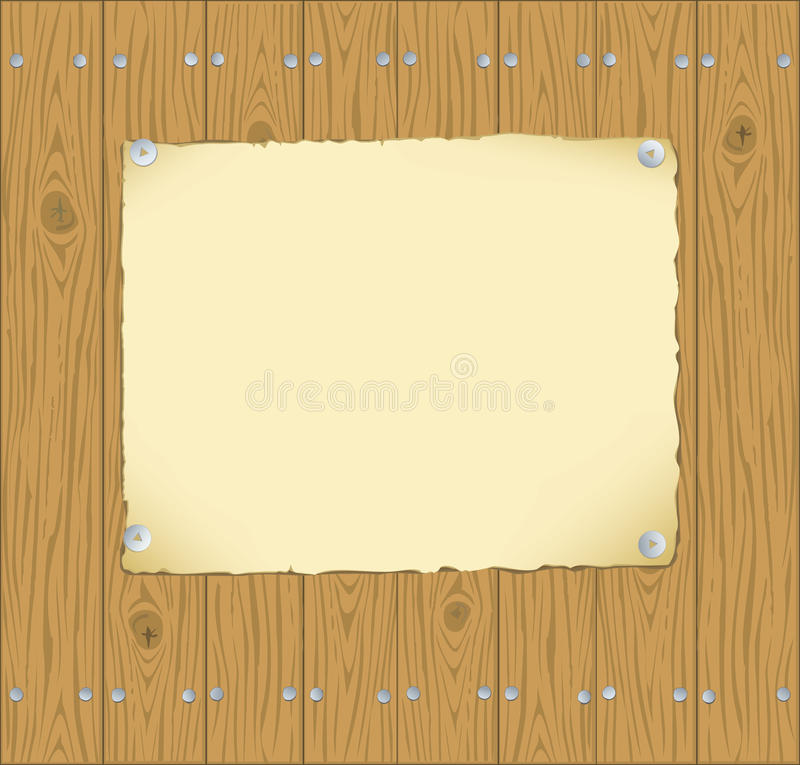 The frame of the paper pinned to wooden planks royalty free illustration