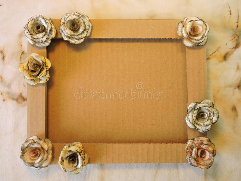 Frame with paper roses stock photo. Image of decorated - 54010980