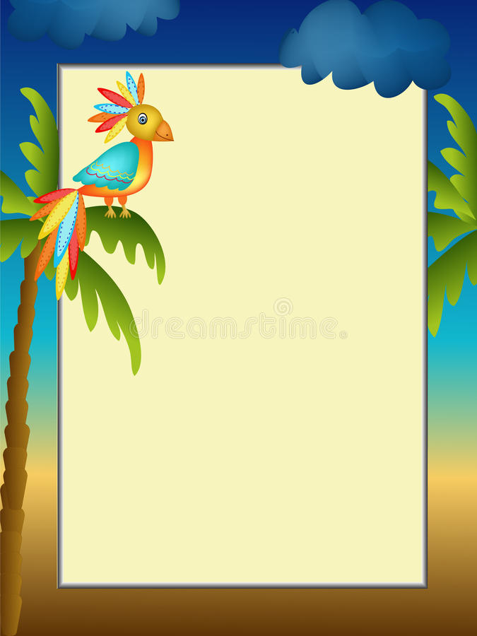 Frame with parrot illustration stock photos