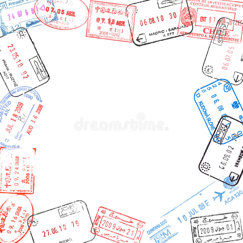Frame from passport visa stamps. Frame from various passport visa stamps stock photography