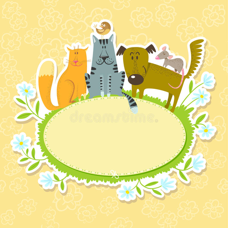 Frame With Pets Royalty Free Stock Photography