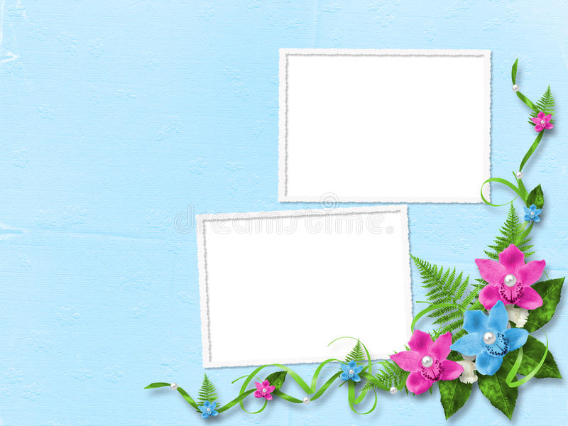 Frame for photo with pink orchids stock illustration
