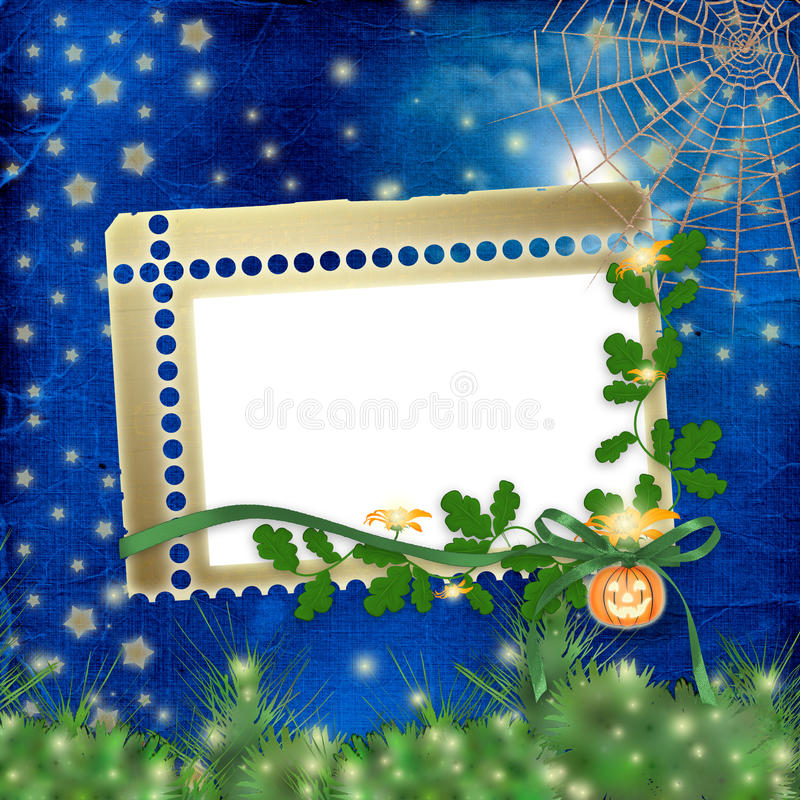 Download Frame For Photo With Pumpkin And Flowers Stock Illustration - Illustration: 11276824