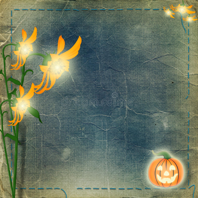 Download Frame For Photo With Pumpkin And Flowers Stock Illustration - Image: 11276993