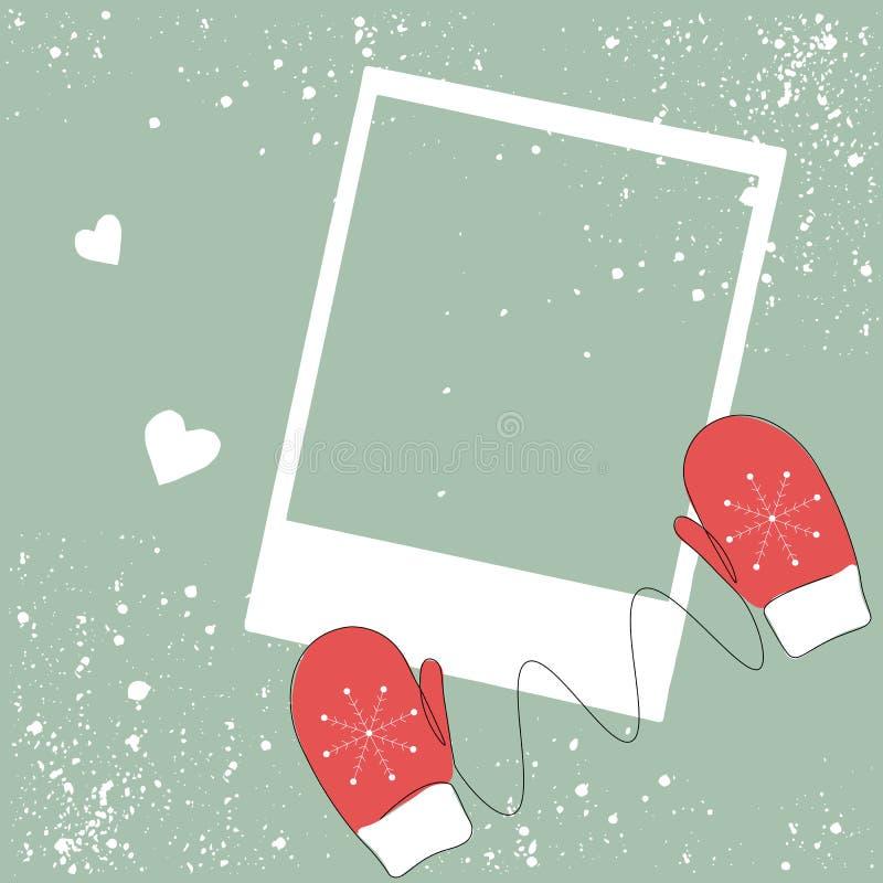 Frame photo, winter border design vector. Illustration royalty free illustration