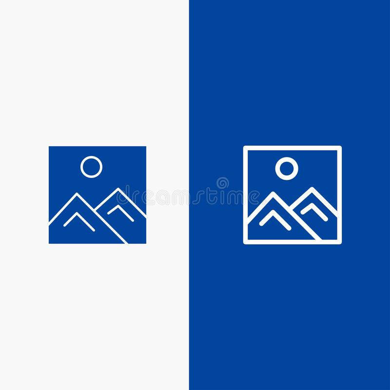 Frame, Picture, Image, Education Line and Glyph Solid icon Blue banner vector illustration