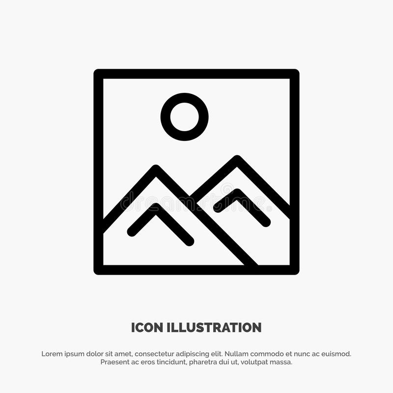 Frame, Picture, Image, Education Vector Line Icon royalty free illustration