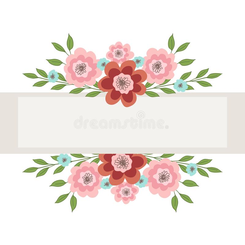 Frame with pink and blue flowers for the inscription. Vector illustration on white background royalty free illustration